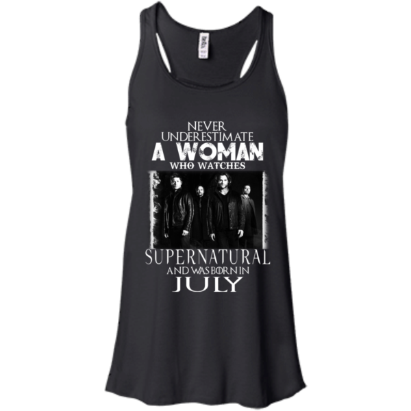 Never Underestimate A Woman Who Watches Supernatural And Was Born In July T-shirt