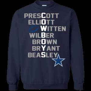 Dallas Cowboys – Prescott, Elliott, Witten, Wilber, Brown, Bryant, Beasley T-Shirt