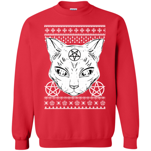 Sathan the cat ugly christmas sweater