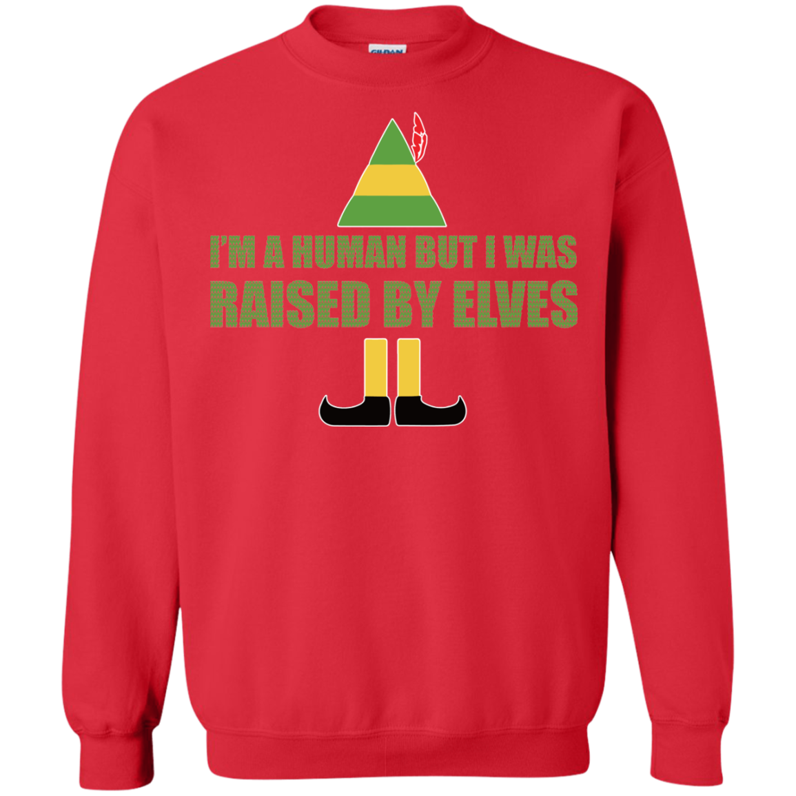 buddy the elf im a human but i was raised by elves christmas - Buddy The Elf Christmas Sweater