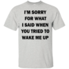 I'm Sorry For What I Said When You Tried To Wake Me Up Shirt