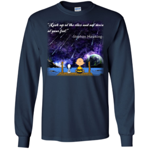 Snoopy & Charlie Brown Look Up At The Stars And Not Down At YourFeet Shirt