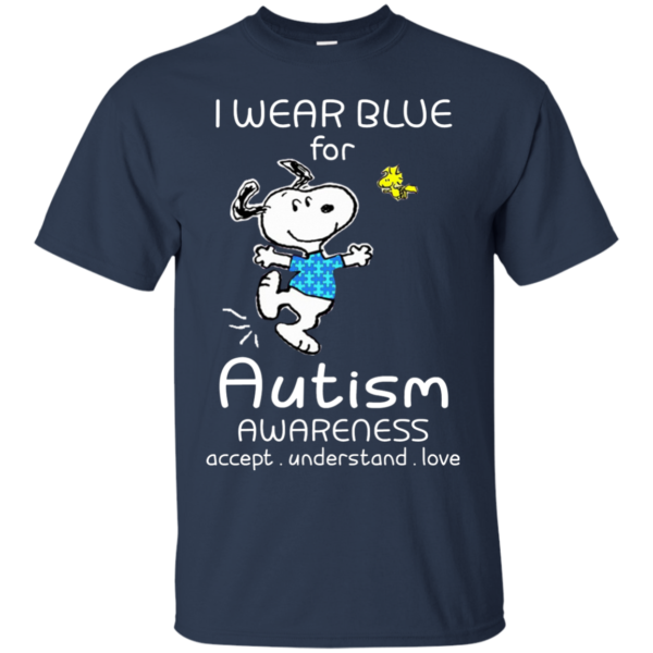 Snoopy – I Wear Blue For Autism Awareness Shirt, Hoodie