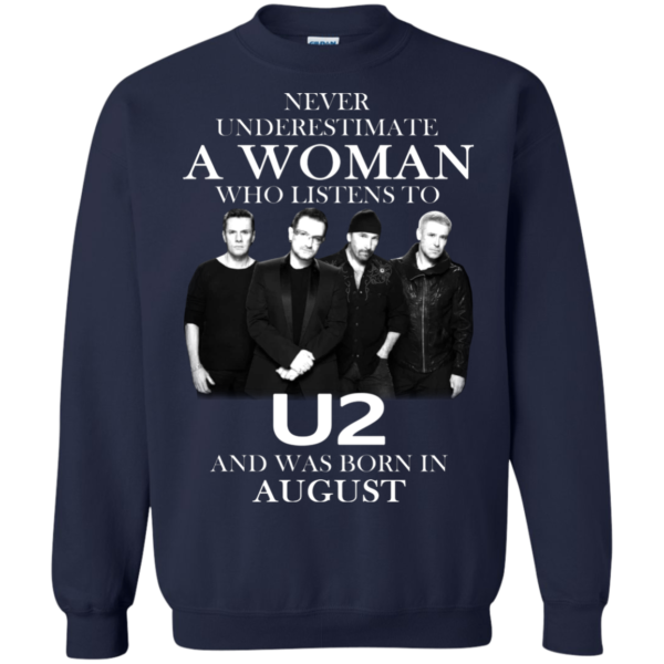 Never Underestimate A Woman Who Listens To U2 And Was Born In August Shirt