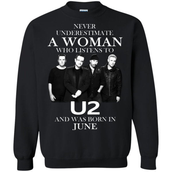 Never Underestimate A Woman Who Listens To U2 And Was Born In June Shirt