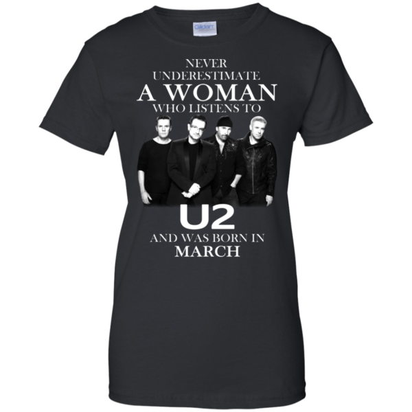 Never Underestimate A Woman Who Listens To U2 And Was Born In March Shirt