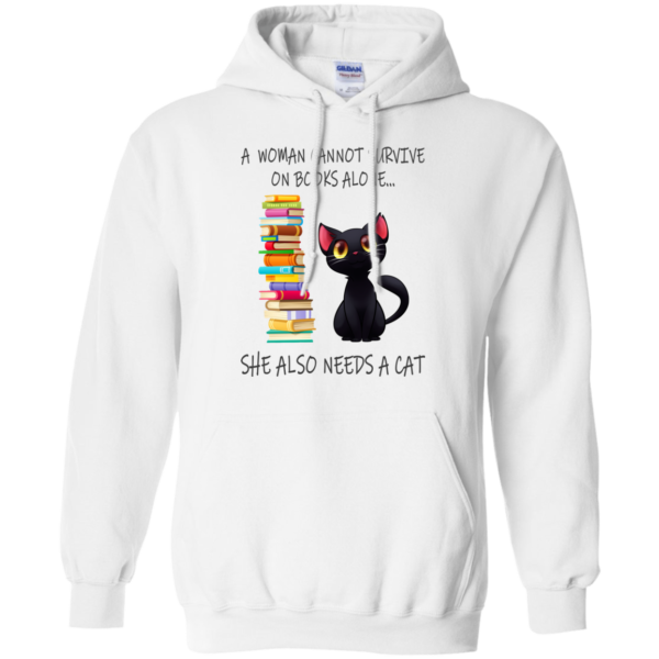 A Woman Cannot Survive On Books Alone – She Also Nees A Cat Shirt