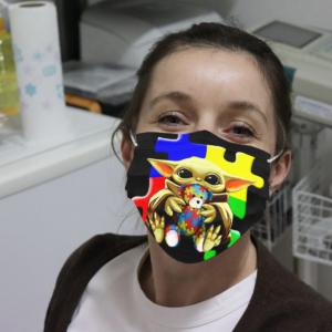 Baby Yoda Hug Autism Bear Cloth Face Mask