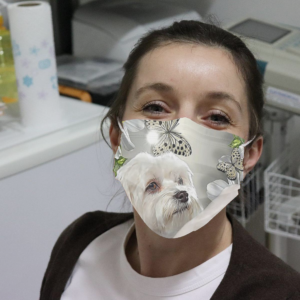 Maltese Daisy And Butterfly Cloth Face Mask