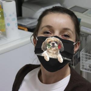 Funny Shih Tzu Rose Inside Zipper Cloth Face Mask
