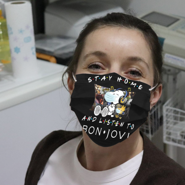 Snoopy - Stay Home And Listen To Bon Jovi Cloth Face Mask
