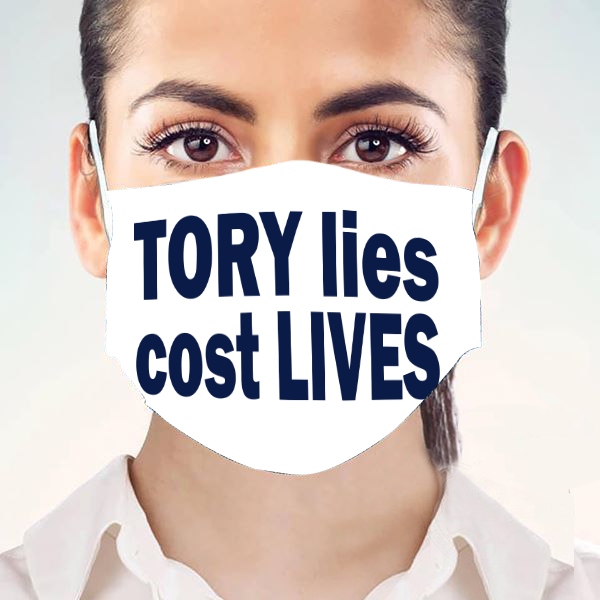 Tory Lies Cost Lives Face Mask