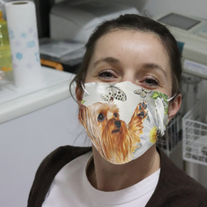 Yorkshire Terrier Daisy And Butterfly Cloth Face Mask