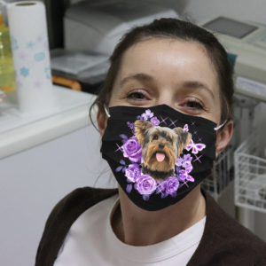 Yorkshire Terrier With Roses And Butterflies Cloth Face Mask