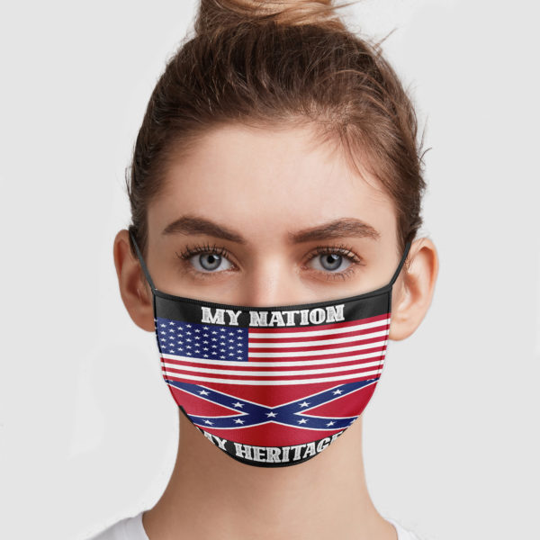 America Flag - Confederate Flag - My Nation My Heritage Face Mask