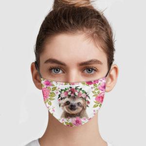 Sloth Flower Face Mask