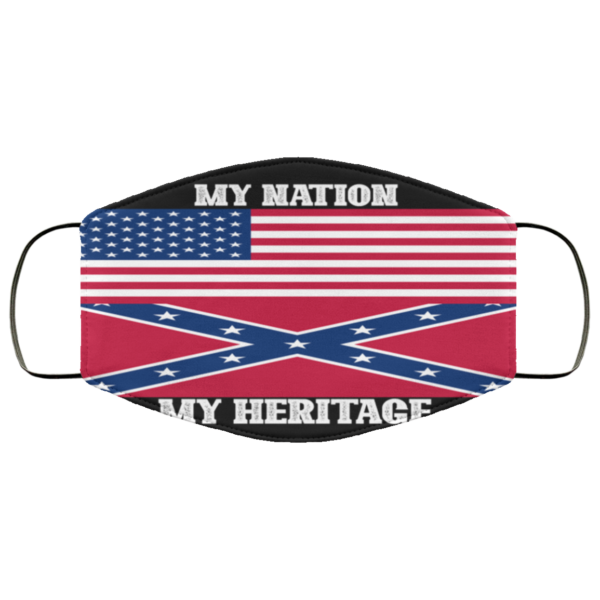 America Flag – Confederate Flag – My Nation My Heritage Face Mask