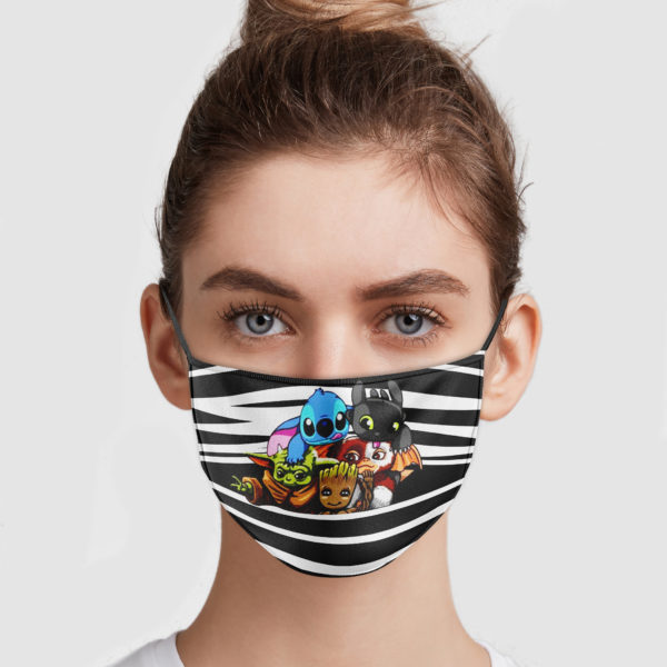Baby Yoda Groot Stitch Toothless Striped Face Mask