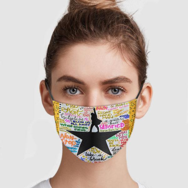 Hamilton Lyrics Face Mask