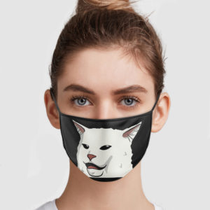 Woman Yelling At Confused Cat Face Mask