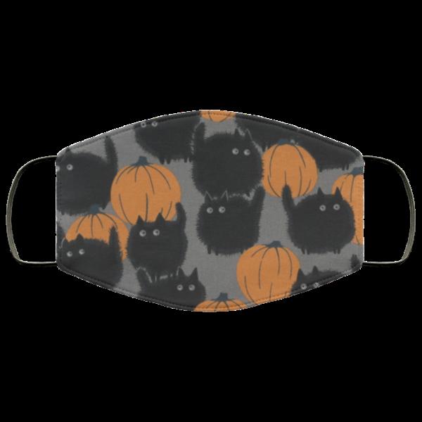 Cat And Pumpkin Halloween Face Mask