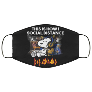 Snoopy Listen Def Leppard – This Is How I Social Distance Face Mask