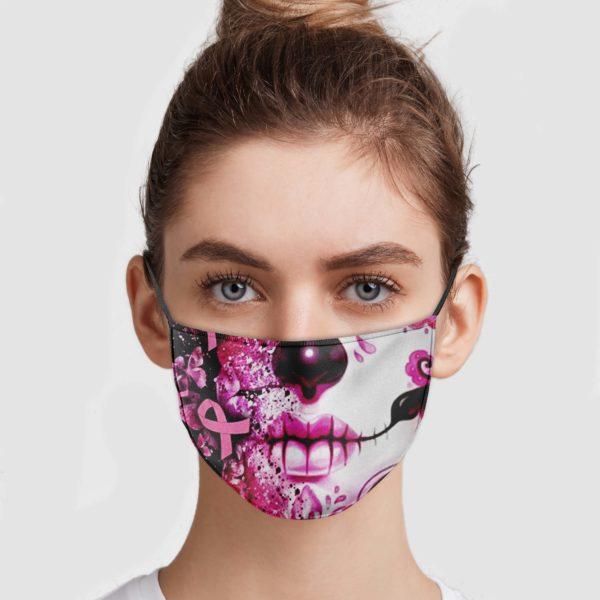 Sugar Skull Breast Cancer Face Mask