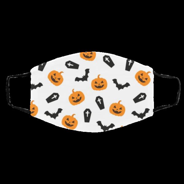 Halloween Pumpkins And Bats Face Mask