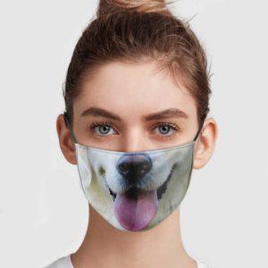White Golden Retriever Face Mask