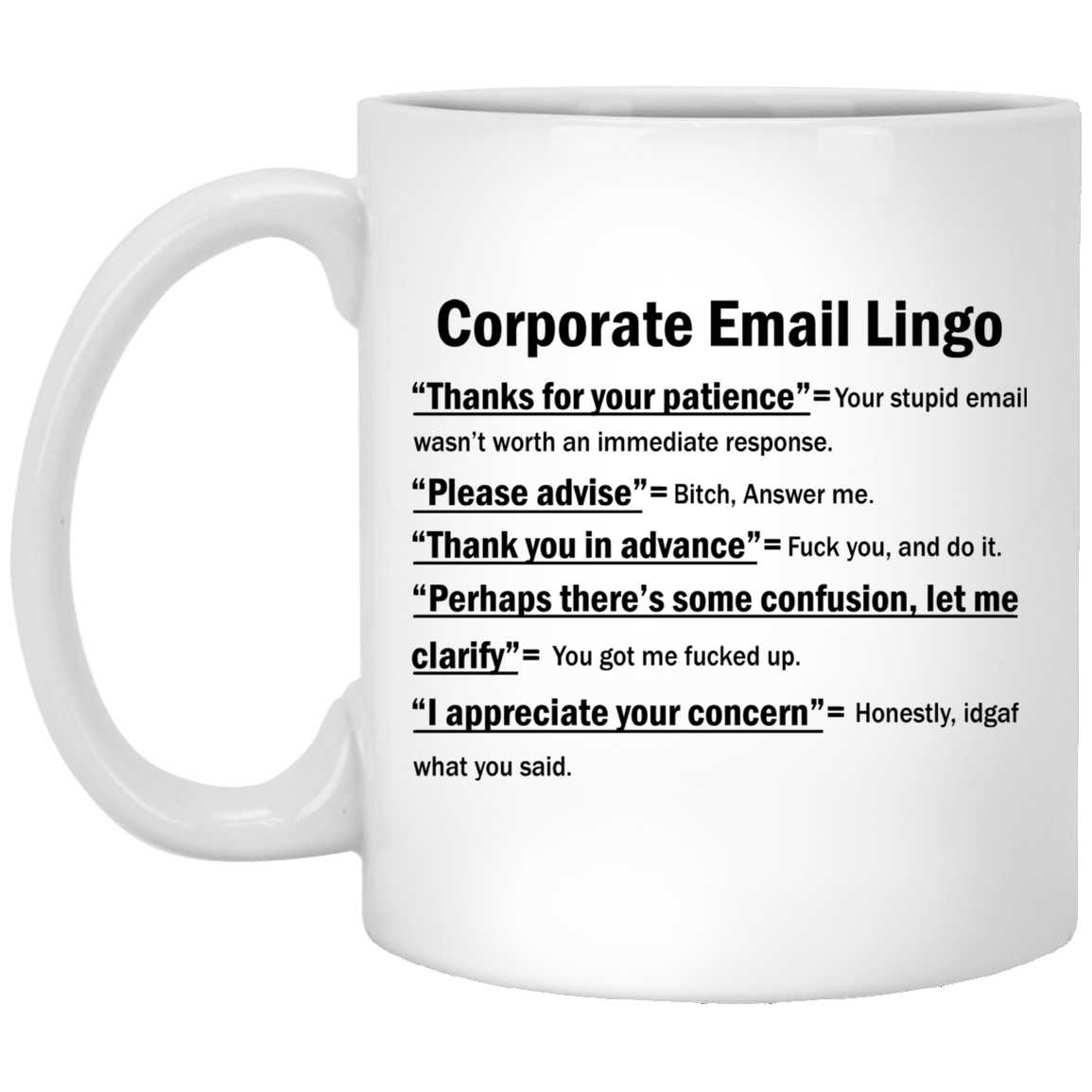 Corporate Email Lingo – Thanks For Your Patience Mugs